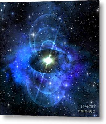 Magnetic Pulse Star Metal Print