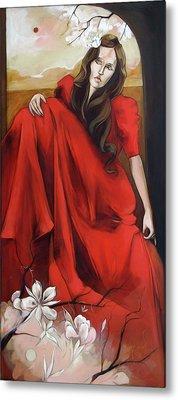 Magnolia's Red Dress Metal Print