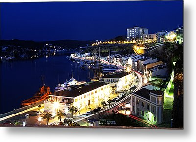 Metal Print featuring the photograph Mahon Harbour At Night by Pedro Cardona