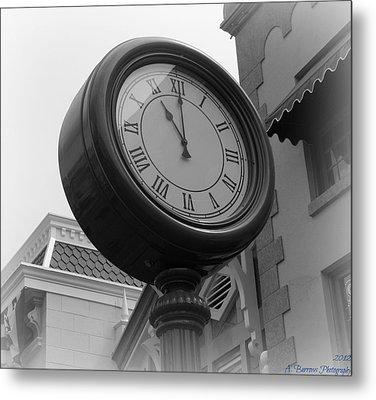 Main Street Clock Metal Print