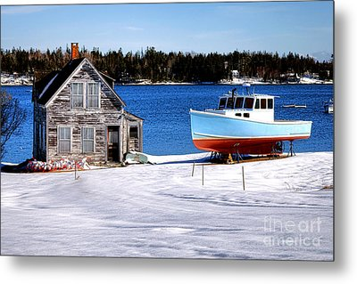 Maine Harbor Winter Scene Metal Print by Olivier Le Queinec