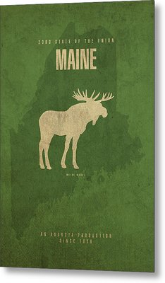 Maine State Facts Minimalist Movie Poster Art Metal Print