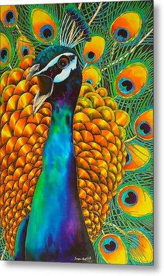 Majestic Peacock Metal Print by Daniel Jean-Baptiste