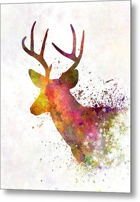Male Deer 02 In Watercolor Metal Print by Pablo Romero