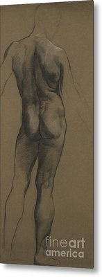 Male Nude Study Metal Print by Evelyn De Morgan