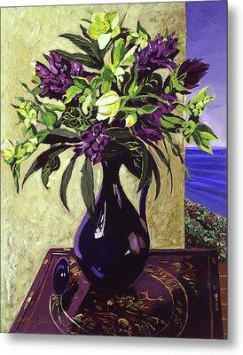 Malibu Hyacinths In Deep Blue Blue  Ceramic Metal Print