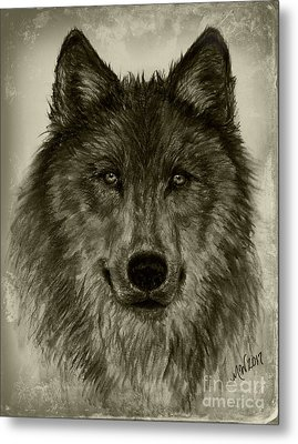 Mama Wolf Vintage Metal Print by Michelle Wolff