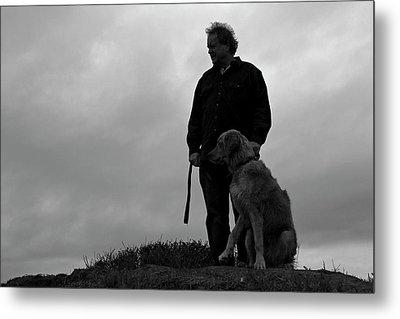 Man And His Dog In Silhouette Metal Print by Lorraine Devon Wilke