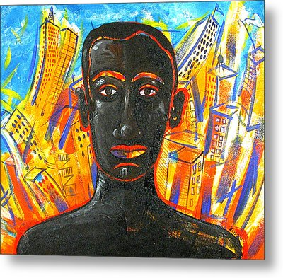 Man And The City Metal Print by Rollin Kocsis