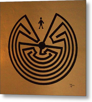 Metal Print featuring the photograph Man In Maze by Tom Singleton
