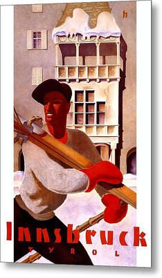 Man In Winter Clothes Carrying Skis - Innsbruck Austria - Vintage Travel Poster Metal Print
