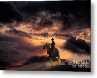 Man On Horseback Metal Print by Ron Sanford and Photo Researchers