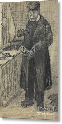 Man Polishing A Boot, 1882  Metal Print by Vincent Van Gogh