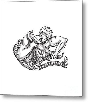Man Pulling Bull By Horns Tattoo Metal Print by Aloysius Patrimonio
