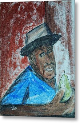 Man With A Pear Metal Print by Van Winslow