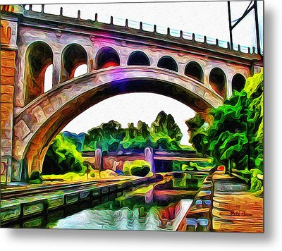 Manayunk Canal And Bridge Metal Print by Bill Cannon