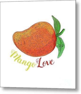 Mango Love Fruit Watercolor Mandala  Metal Print