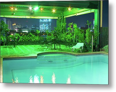Mango Park Hotel Roof Top Pool Metal Print by James BO  Insogna