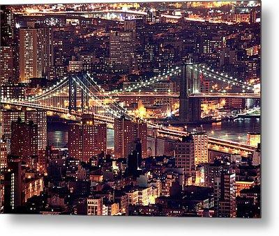 Manhattan And Brooklyn Bridges Metal Print by Rob Kroenert