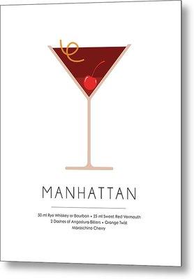 Manhattan Classic Cocktail - Minimalist Print Metal Print