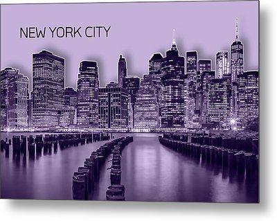 Manhattan Skyline - Graphic Art - Purple Metal Print