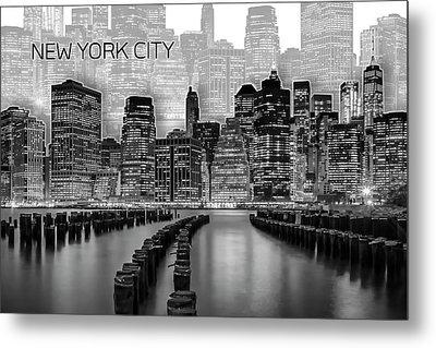 Manhattan Skyline - Graphic Art - White Metal Print