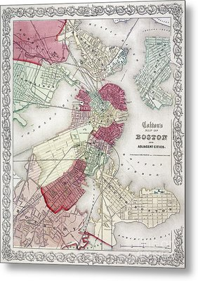 Map: Boston, 1865 Metal Print by Granger