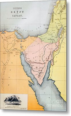 Map Depicting The Countries Between Egypt And Canaan Metal Print