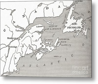 Map Of Acadia, 17th Century Colony Of New France In Canada Metal Print by American School