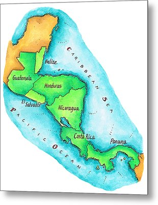 Map Of Central America Metal Print by Jennifer Thermes
