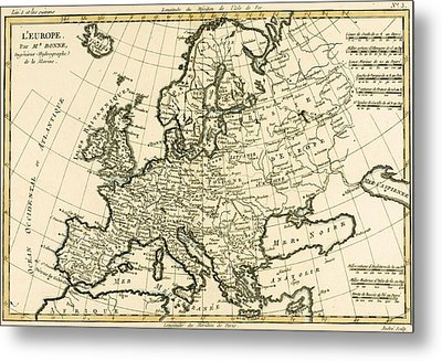 Map Of Europe Metal Print by Guillaume Raynal