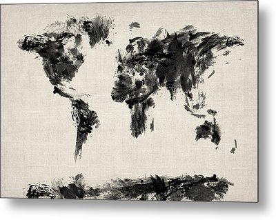 Map Of The World Map Abstract Metal Print by Michael Tompsett