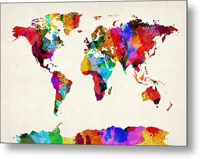 Map Of The World Map Abstract Painting Metal Print by Michael Tompsett