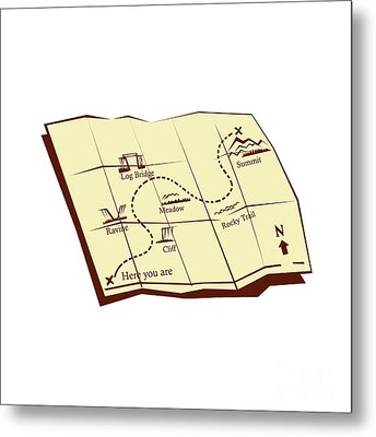 Map Of Trail With X Marks The Spot Woodcut Metal Print by Aloysius Patrimonio