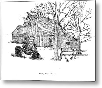 Metal Print featuring the drawing Maple Tree Farm by Jack G  Brauer