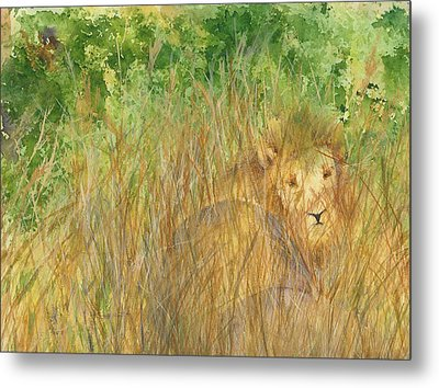 Metal Print featuring the painting Mara The Lioness by Vicki  Housel
