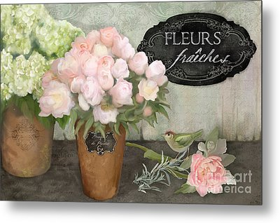 Marche Aux Fleurs 2 - Peonies N Hydrangeas W Bird Metal Print
