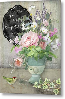 Metal Print featuring the painting Marche Aux Fleurs 3 Peony Tulips Sweet Peas Lavender And Bird by Audrey Jeanne Roberts