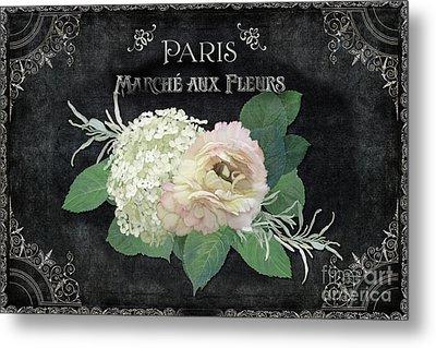 Marche Aux Fleurs 4 Vintage Style Typography Art Metal Print by Audrey Jeanne Roberts