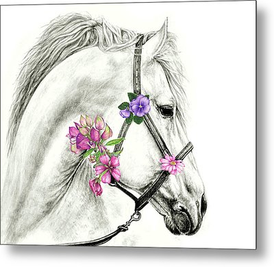 Mare With Flowers Metal Print