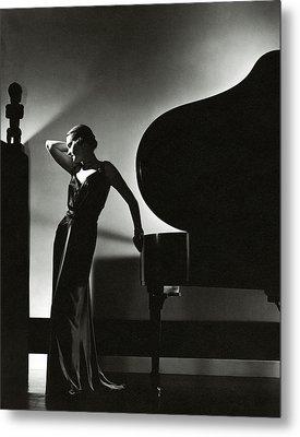 Margaret Horan Posing Beside A Piano Metal Print