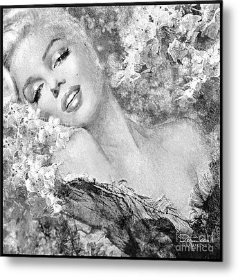Marilyn Cherry Blossom Bw Metal Print