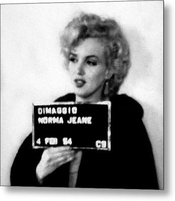 Marilyn Monroe Mugshot In Black And White Metal Print by Bill Cannon