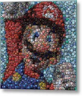 Mario Bottle Cap Mosaic Metal Print