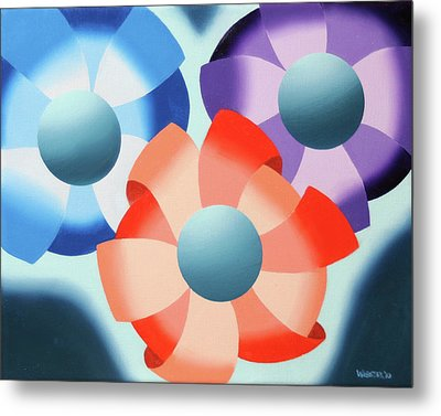 Metal Print featuring the painting Mark Webster - Abstract Futurist Flowers 2 Oil Painting  by Mark Webster