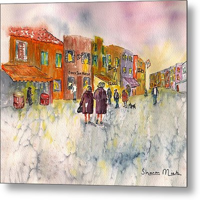 Metal Print featuring the painting Market Place In Borano by Sharon Mick