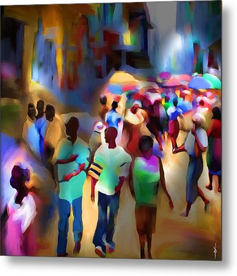 Marketplace At Night Cap Haitien Metal Print