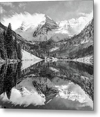 Maroon Bells - Aspen Colorado - Monochrome - American Southwest 1x1 Metal Print