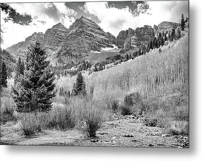 Metal Print featuring the photograph Maroon Bells Monochrome by Eric Glaser