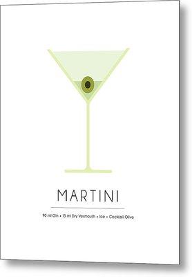 Martini Classic Cocktail - Minimalist Print Metal Print